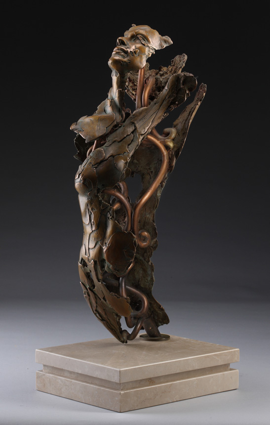 Entitled Angel Aymelek , this is a bronze sculpture of a partial female figure with an exposed interior structure created by sculptor Blake Ward.