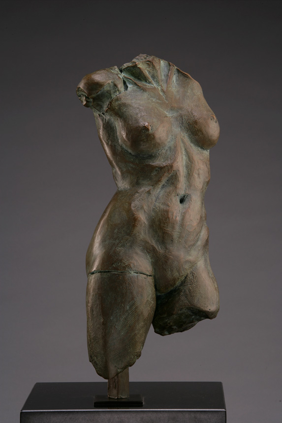 Entitled GEMSS M-128, this is a photo of a fragment of a one-quarter life size bronze sculpture. Depicted is the torso of a nude female figure missing both legs at the thigh, both arms and head. By sculptor Blake Ward.