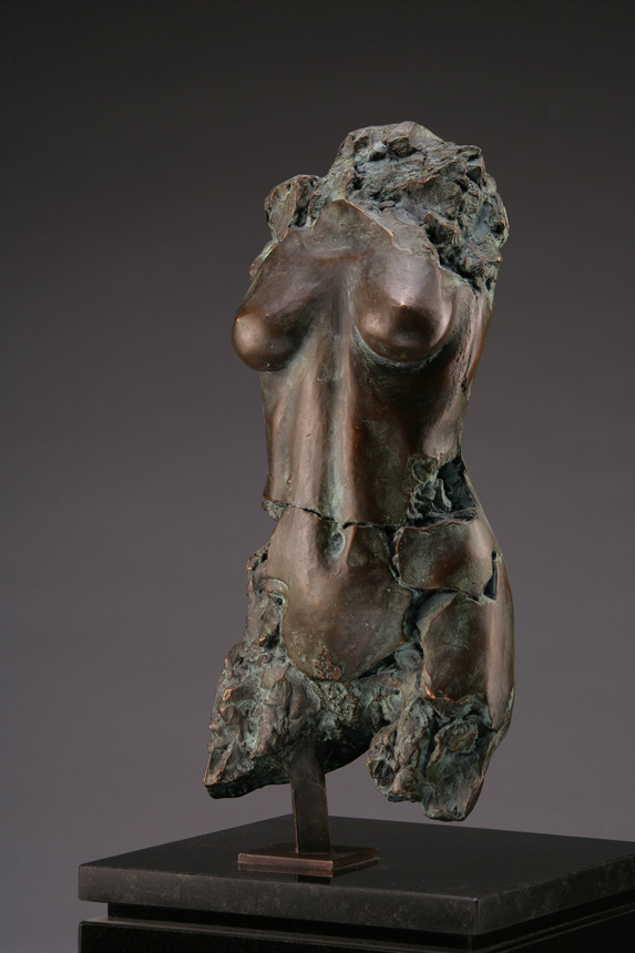 Entitled Hades BL 755, this is a photo of a fragment of a one-quarter life size bronze sculpture. Depicted is the torso of a nude female figure missing her legs, arms, shoulders and head. By sculptor Blake Ward.