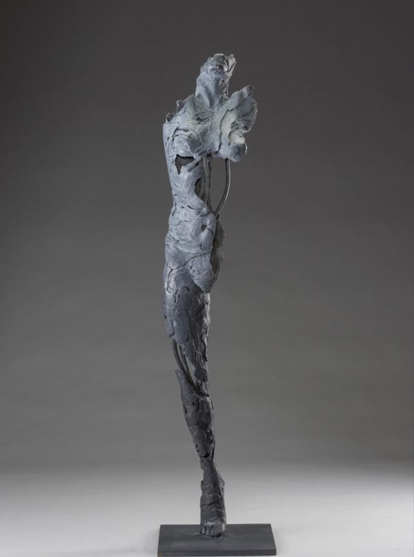 Entitled Ushabti Heqet this is a bronze sculpture of a partial female figure with an exposed interior structure created by sculptor Blake Ward.