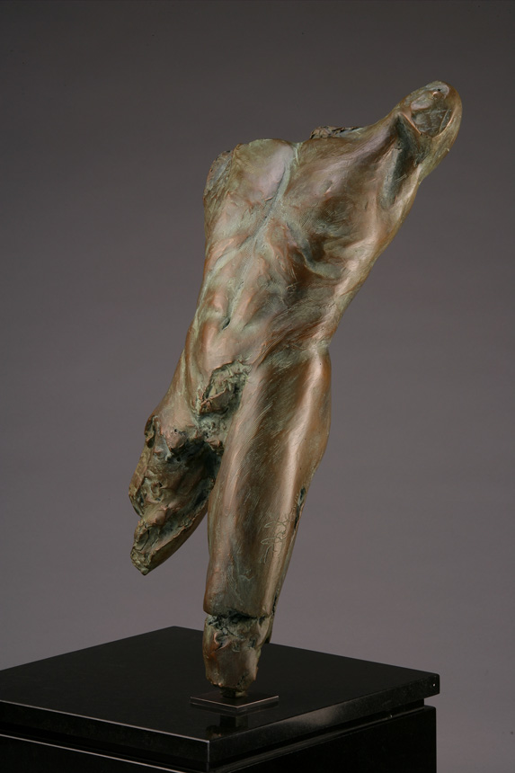 Entitled Pineapple Cluster BLU-3, this is a photo of a fragment of a one-quarter life size bronze sculpture. Depicted is the torso of a nude male figure missing both his legs from above the knee, both arms head and neck. By sculptor Blake Ward.