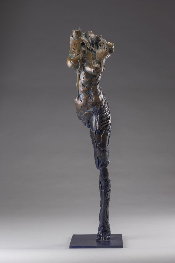Entitled Ushabtis Taweret this is a bronze sculpture of a partial female figure with an exposed interior structure created by sculptor Blake Ward