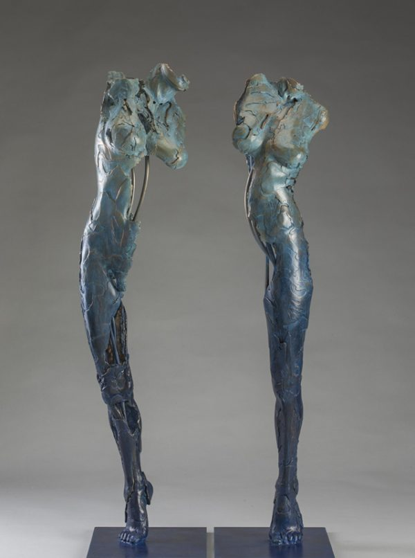 Entitled Ushabti Mayet and Mafdet, these are bronze sculptures of partial female figures with an exposed interior structures created by sculptor Blake Ward.