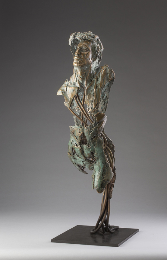 Entitled Angel Hamael, this is a bronze sculpture of a partial female figure with an exposed interior structure created by sculptor Blake Ward