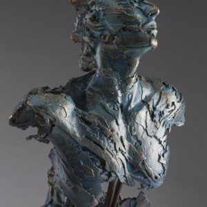Entitled Angel Afriel, this is a bronze sculpture of a partial male figure with an exposed interior structure created by sculptor Blake Ward.