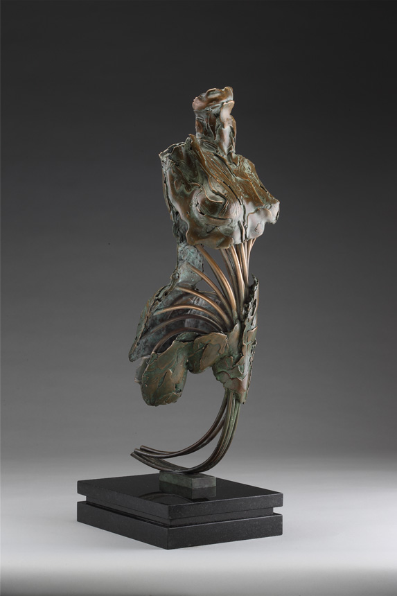 Entitled Angel Harachel, this is a bronze sculpture of a partial female figure with an exposed interior structure created by sculptor Blake Ward