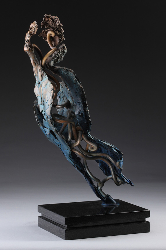 Entitled Angel Ambriel, this is a bronze sculpture of a partial male figure with an exposed interior structure created by sculptor Blake Ward.