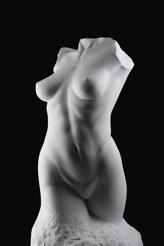 Entitled Danza, this is a photograph depicting a one-quarter life-size marble sculpture of a standing female figure emerging from the stone base, created by sculptor Blake Ward