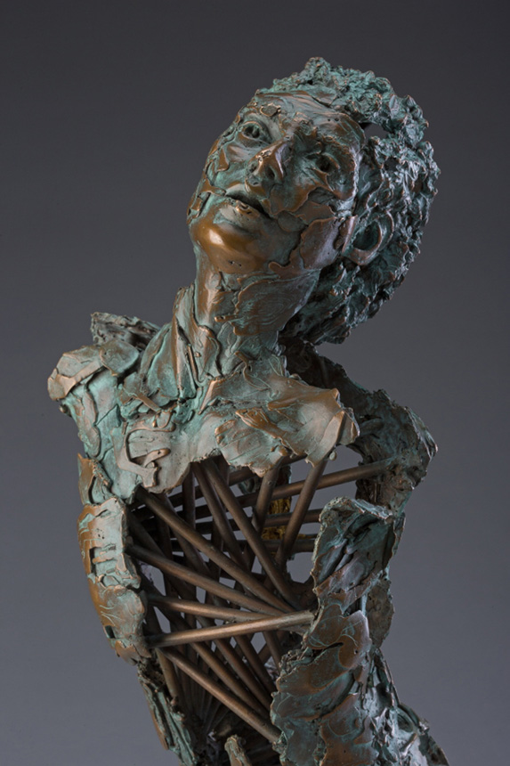 Entitled Angel Aquariel, this is a bronze sculpture of a partial male figure with an exposed interior structure created by sculptor Blake Ward.