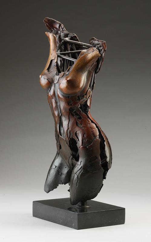 Entitled Angel Hamiah, this is a bronze sculpture of a partial female figure with an exposed interior structure created by sculptor Blake Ward