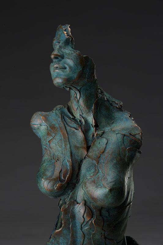 Entitled Angel Ecanus, this is a bronze sculpture of a partial female figure with an exposed interior structure created by sculptor Blake Ward.