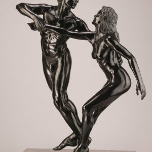 Entitled L'enlevement de Proserpine, this is a photograph depicting two one-quarter life-size bronze sculptures of a standing male and female figure, created by sculptor Blake Ward