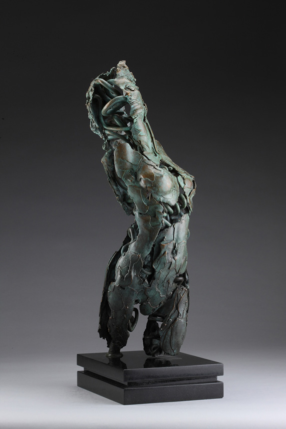 Entitled Angel Uzziel, this is a bronze sculpture of a partial female figure with an exposed interior structure created by sculptor Blake Ward.